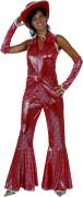 Disfraz rojo brillante estilo disco para mujer