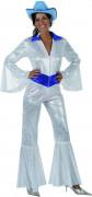Disfraz blanco brillante estilo disco para mujer