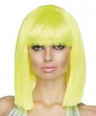 Peluca para mujer color amarillo fluorescente en forma de media melena cuadrada