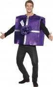 Disfraz de regalo violeta para adulto