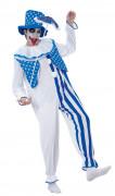 Disfraz de payaso azul y blanco