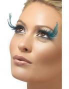 Pestañas postizas con plumas azules