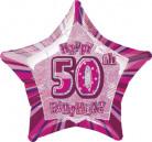 Globo estrella rosa edad 50 años