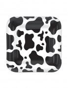Platos cuadrados piel de vaca 17.8 cm