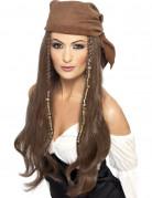 Peluca larga castaño pirata mujer
