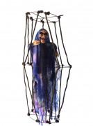Decoración colgante esqueleto en jaula luminosa