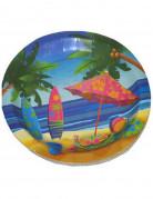 8 platos de cartón vacaciones Hawai