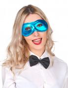 Antifaz metalizado azul adulto