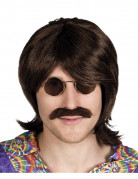 Peluca y bigote marrón hombre
