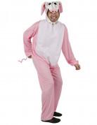 Disfraz de cerdo rosa y blanco adulto