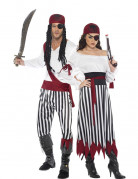 Disfraz de pareja pirata rayas