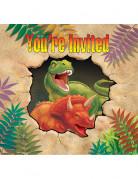 8 Tarjetas de invitación cumpleaños dinosaurio