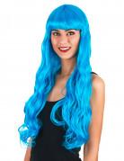 Peluca larga ondulada azul aqua mujer