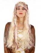 Peluca rubia medieval mujer