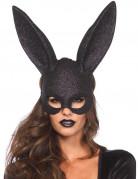 Máscara conejo negro brillante adulto