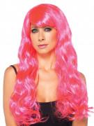 Peluca larga rizado rosa