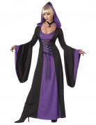 Disfraz vestido capucha violeta mujer