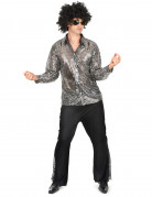 Disfraz disco plateado hombre