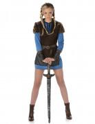 Disfraz de vikingo azul mujer