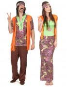 Disfraz de pareja hippie naranja adulto
