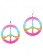 Pendientes símbolo de la paz multicolor adulto