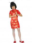 Disfraz de geisha rojo y dorado niña