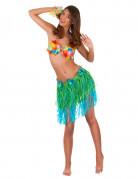 Falda hawaiana corta verde y azul con flores adulto
