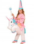 Disfraz de princesa con unicornio hinchable niña