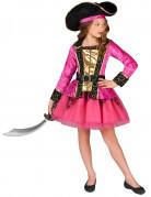 Disfraz de pirata rosa y dorado niña