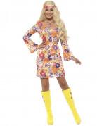 Disfraz hippie flores naranja mujer