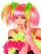 Peluca manga rosa fosforito mujer