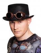 Sombrero de copa con gafas adulto Steampunk