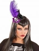 Mini sombrero alto negro y violeta adulto Día de los muertos