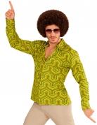 Camisa groovy verde años 70 hombre