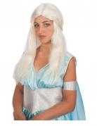 Peluca blanca madre de dragones mujer