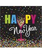 20 Servilletas de papel Happy New year confetis 33 x 33 cm