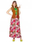 Disfraz hippie feliz mujer