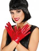 Guantes cortos metalizados rojo mujer
