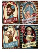4 Carteles de circo vintage 38 cm
