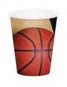 8 Vasos de cartón globo de baloncesto 266 ml